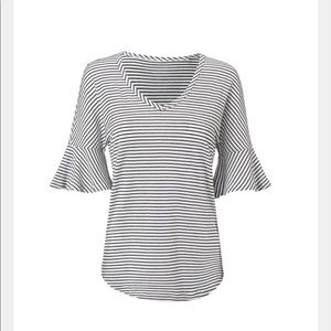 Cabi Skipper striped tee with frill 3/4 sleeves xl